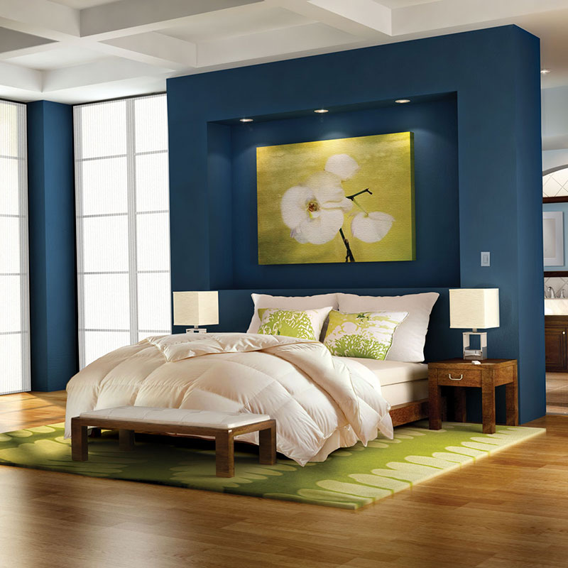Lutron shades in a bedroom